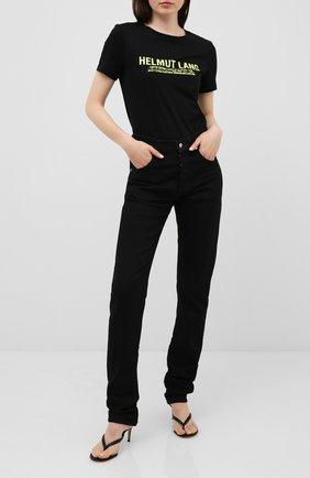 Женская хлопковая футболка HELMUT LANG черного цвета, арт. I04HW513 | Фото 2