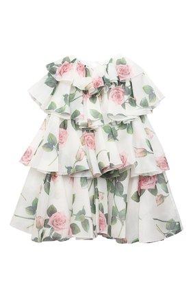 Детское шелковое платье DOLCE & GABBANA белого цвета, арт. L52DC2/IS1BD/8-14 | Фото 1 (Материал внешний: Шелк; Рукава: Короткие; Случай: Повседневный; Девочки Кросс-КТ: Платье-одежда; Материал подклада: Вискоза)