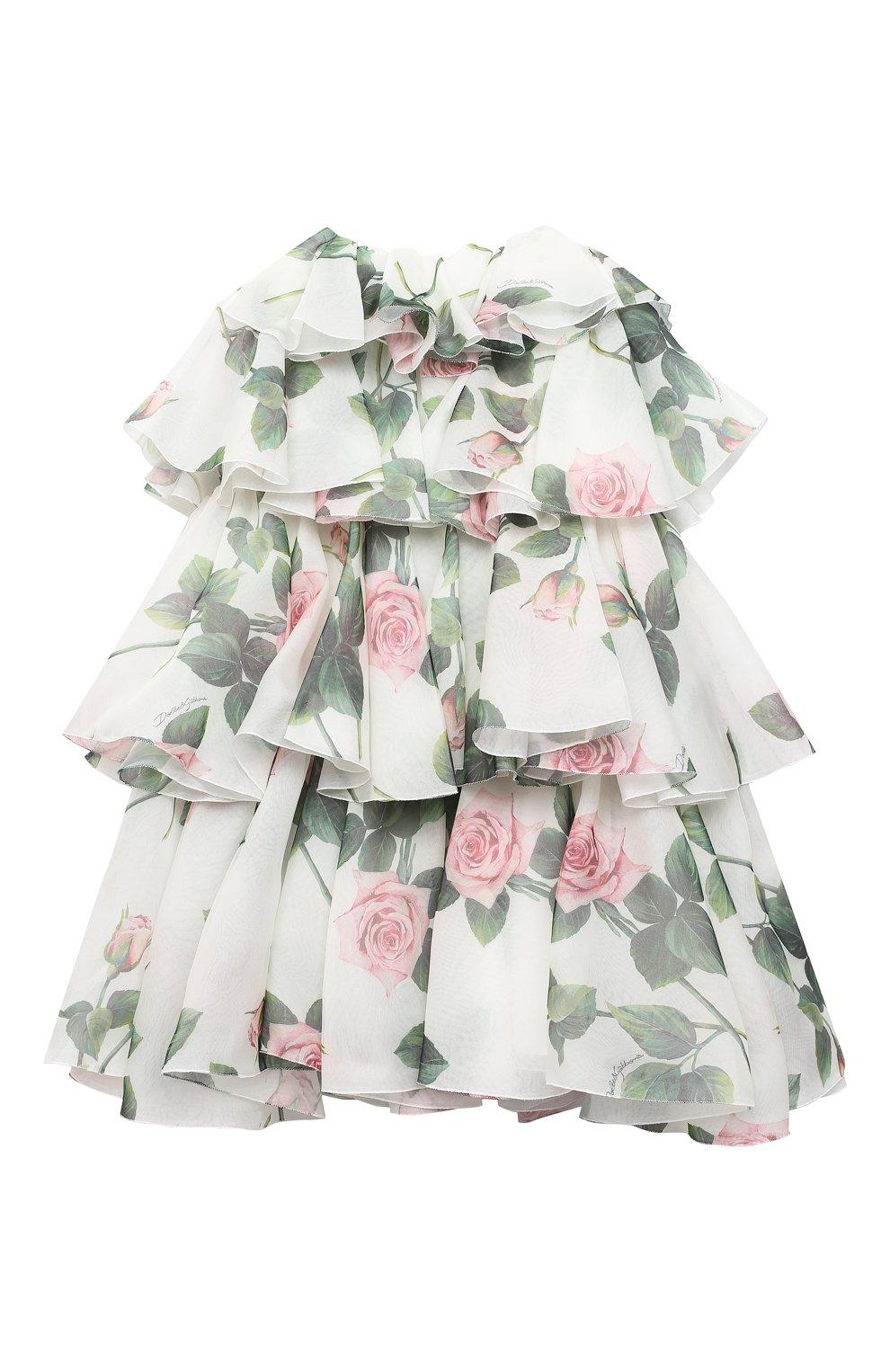 Детское шелковое платье DOLCE & GABBANA белого цвета, арт. L52DC2/IS1BD/8-14 | Фото 2 (Материал внешний: Шелк; Рукава: Короткие; Случай: Повседневный; Девочки Кросс-КТ: Платье-одежда; Материал подклада: Вискоза)