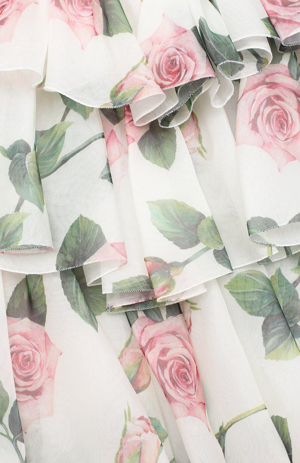 Детское шелковое платье DOLCE & GABBANA белого цвета, арт. L52DC2/IS1BD/8-14 | Фото 3 (Материал внешний: Шелк; Рукава: Короткие; Случай: Повседневный; Девочки Кросс-КТ: Платье-одежда; Материал подклада: Вискоза)