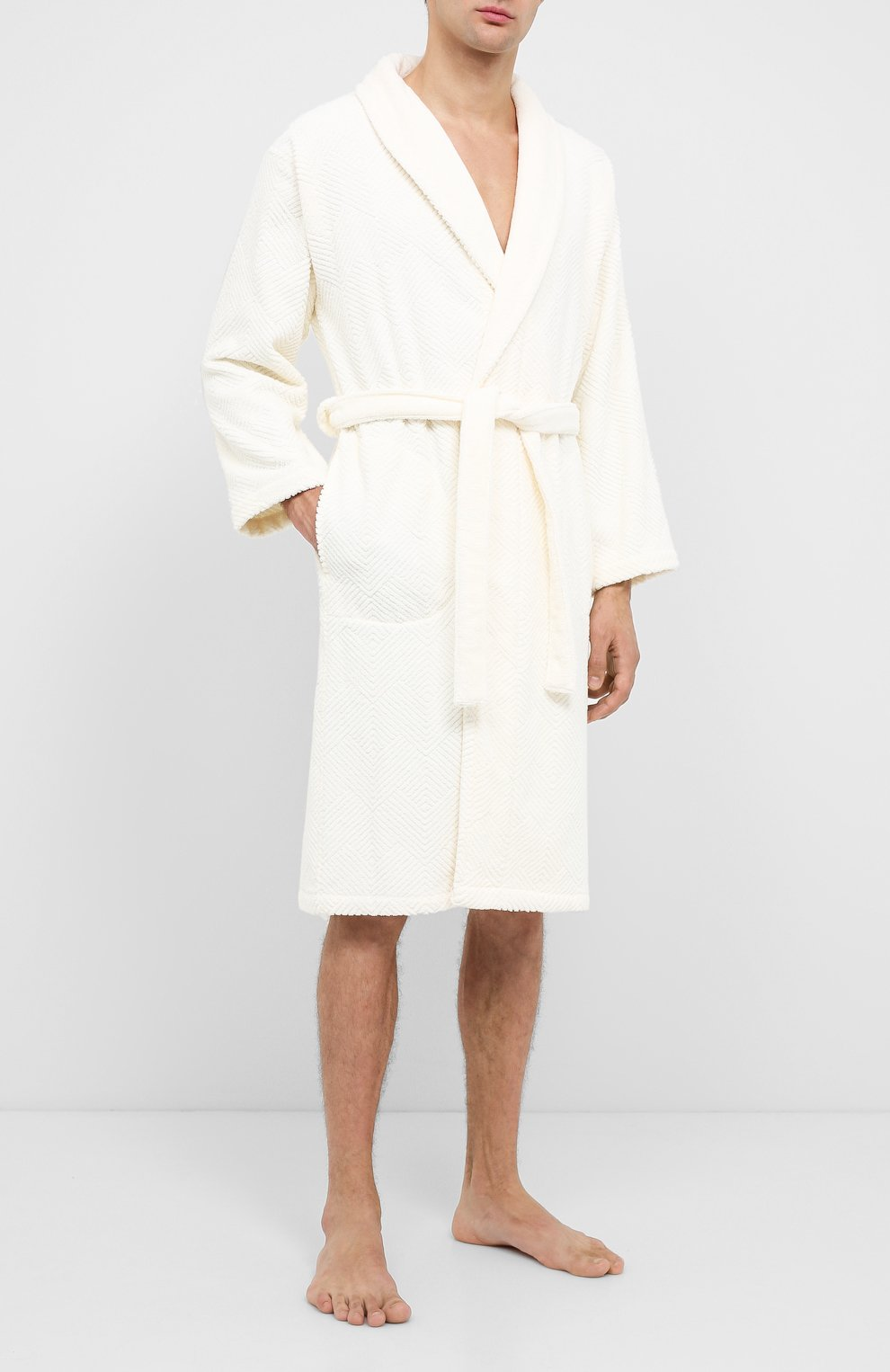 Мужской хлопковый халат FRETTE бежевого цвета, арт. FR6243 D2060 G02M   Фото 2