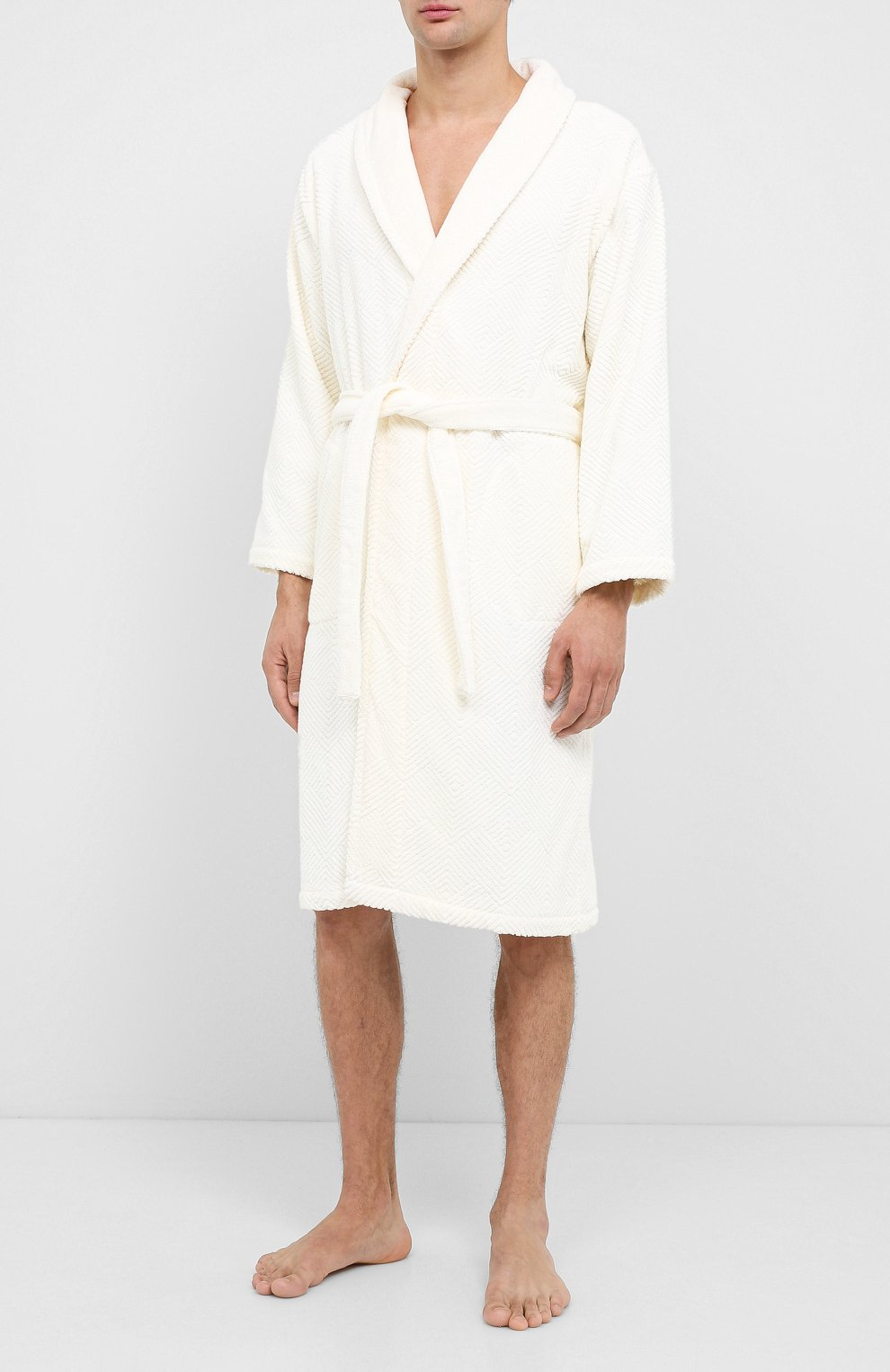 Мужской хлопковый халат FRETTE бежевого цвета, арт. FR6243 D2060 G02M   Фото 3