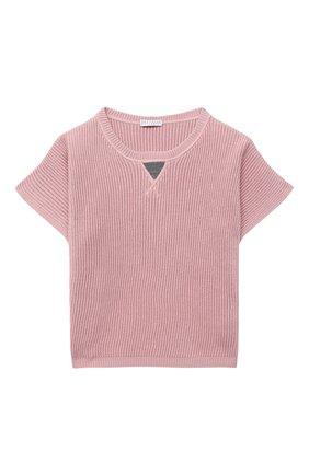 Детский хлопковый пуловер BRUNELLO CUCINELLI розового цвета, арт. B58M70010B | Фото 1