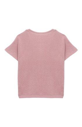 Детский хлопковый пуловер BRUNELLO CUCINELLI розового цвета, арт. B58M70010B | Фото 2