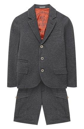 Детский костюм из пиджака и шорт BRUNELLO CUCINELLI серого цвета, арт. BD847A103A | Фото 1