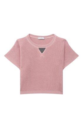 Детский хлопковый пуловер BRUNELLO CUCINELLI розового цвета, арт. B58M70010A | Фото 1