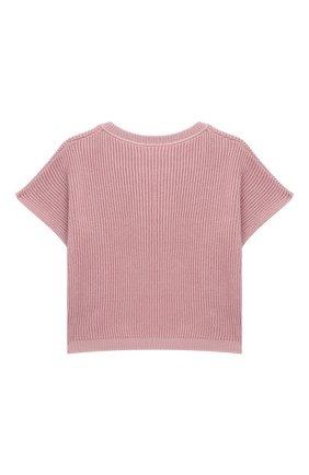 Детский хлопковый пуловер BRUNELLO CUCINELLI розового цвета, арт. B58M70010A | Фото 2