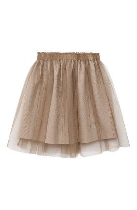 Детская хлопковая юбка BRUNELLO CUCINELLI бежевого цвета, арт. BD487G002C | Фото 1