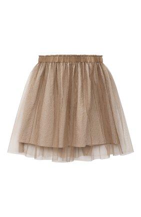 Детская хлопковая юбка BRUNELLO CUCINELLI бежевого цвета, арт. BD487G002C | Фото 2