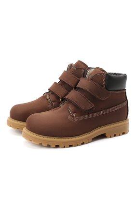 Детские кожаные ботинки RONDINELLA коричневого цвета, арт. 11201I/634/28-30 | Фото 1