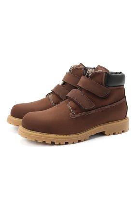 Детские кожаные ботинки RONDINELLA коричневого цвета, арт. 11201I/634/37-39 | Фото 1