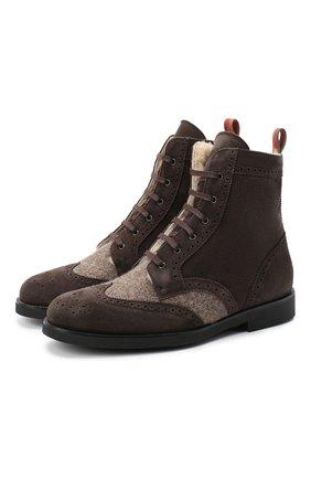 Детские замшевые ботинки с брогированием RONDINELLA коричневого цвета, арт. 11568E/444/28-30 | Фото 1