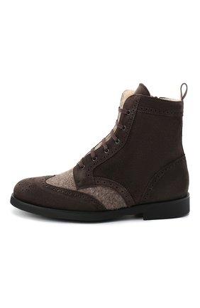 Детские замшевые ботинки с брогированием RONDINELLA коричневого цвета, арт. 11568E/444/28-30 | Фото 2