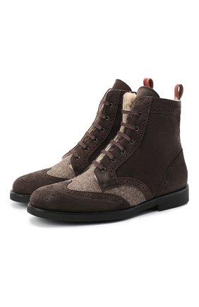 Детские замшевые ботинки с брогированием RONDINELLA коричневого цвета, арт. 11568E/444/34-36 | Фото 1