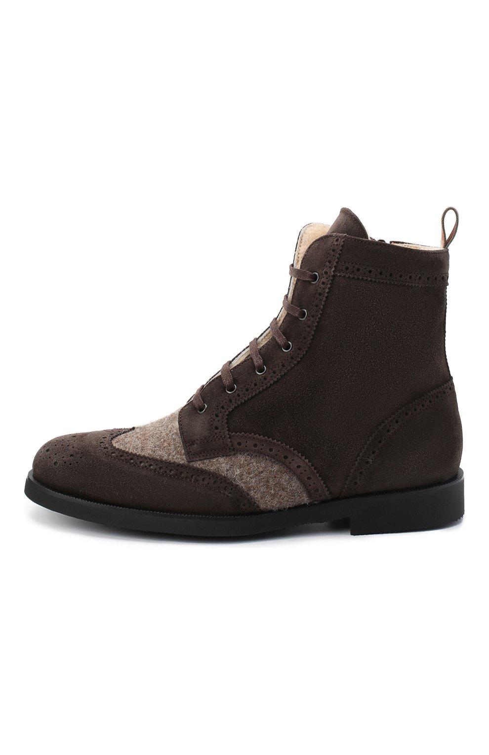 Детские замшевые ботинки с брогированием RONDINELLA коричневого цвета, арт. 11568E/444/34-36 | Фото 2