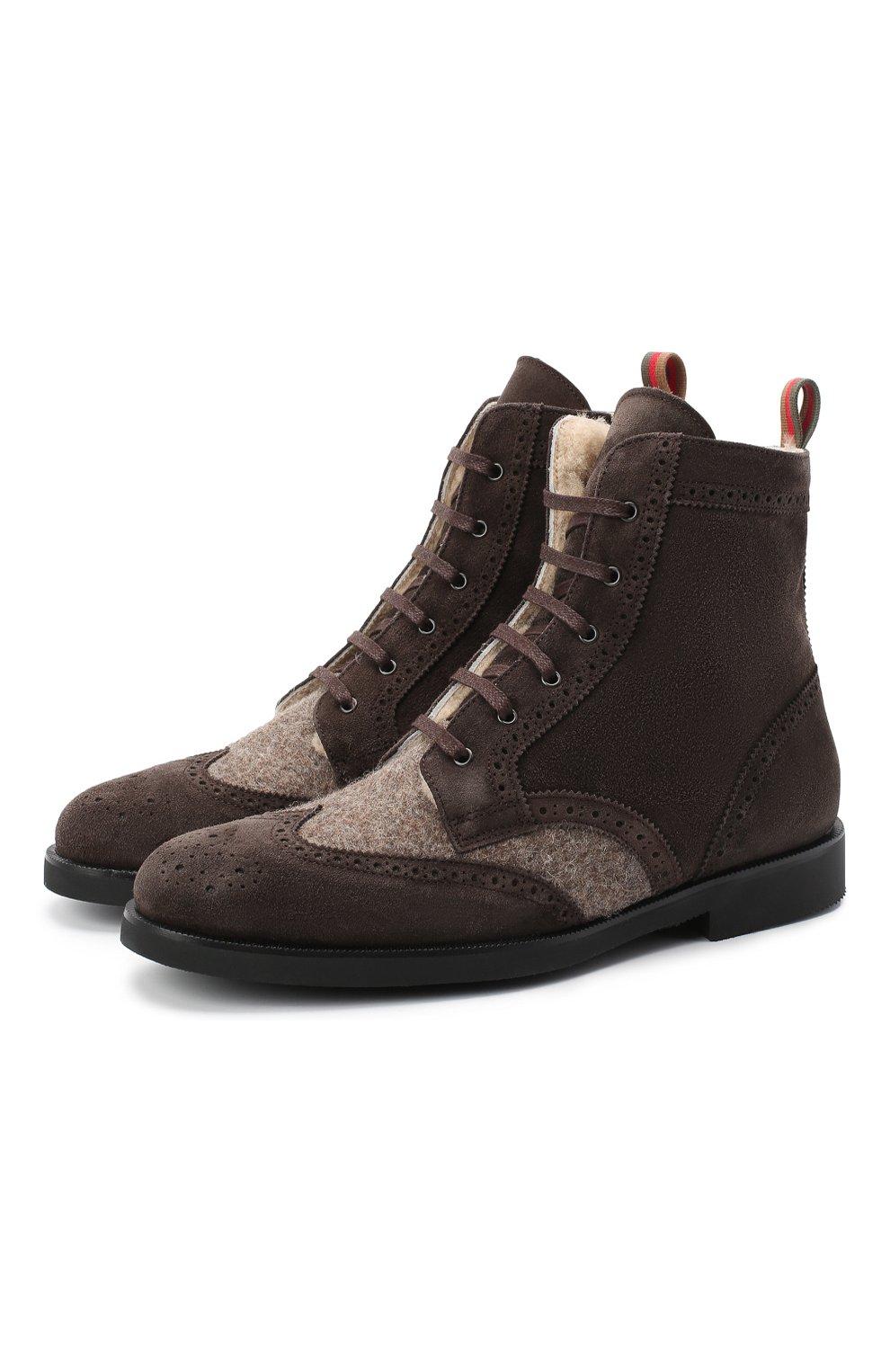 Детские замшевые ботинки с брогированием RONDINELLA коричневого цвета, арт. 11568E/444/37-39   Фото 1