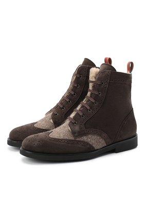 Детские замшевые ботинки с брогированием RONDINELLA коричневого цвета, арт. 11568E/444/37-39 | Фото 1