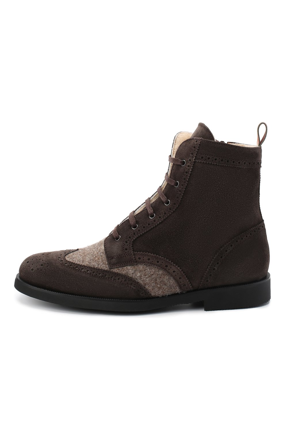 Детские замшевые ботинки с брогированием RONDINELLA коричневого цвета, арт. 11568E/444/37-39   Фото 2