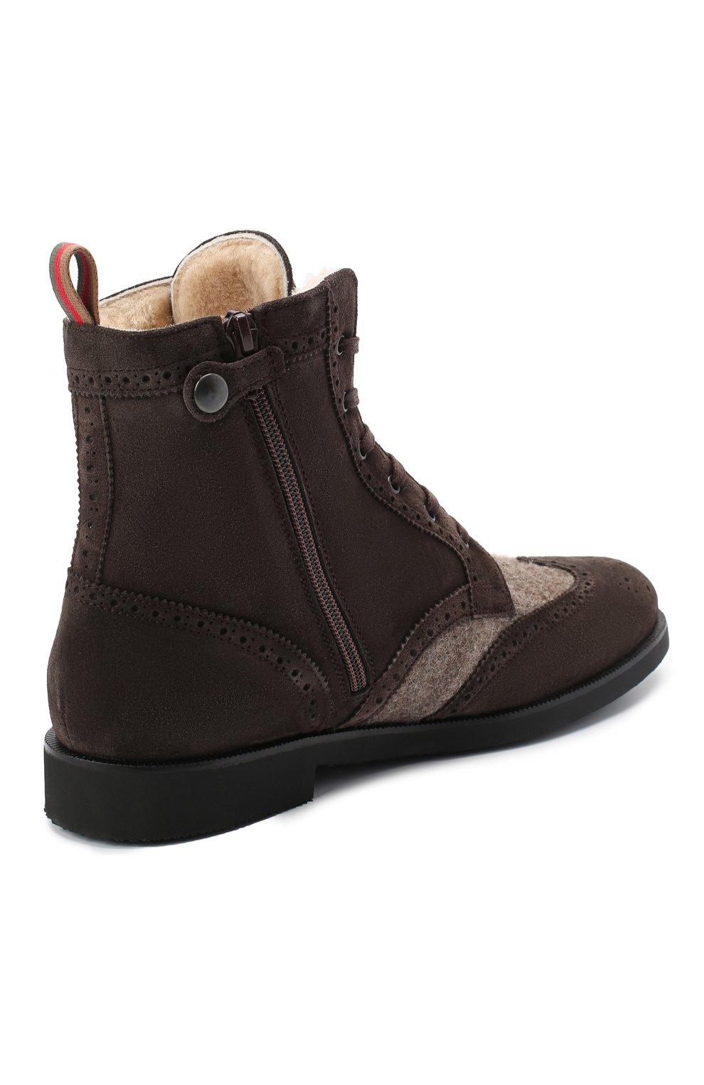 Детские замшевые ботинки с брогированием RONDINELLA коричневого цвета, арт. 11568E/444/37-39   Фото 3