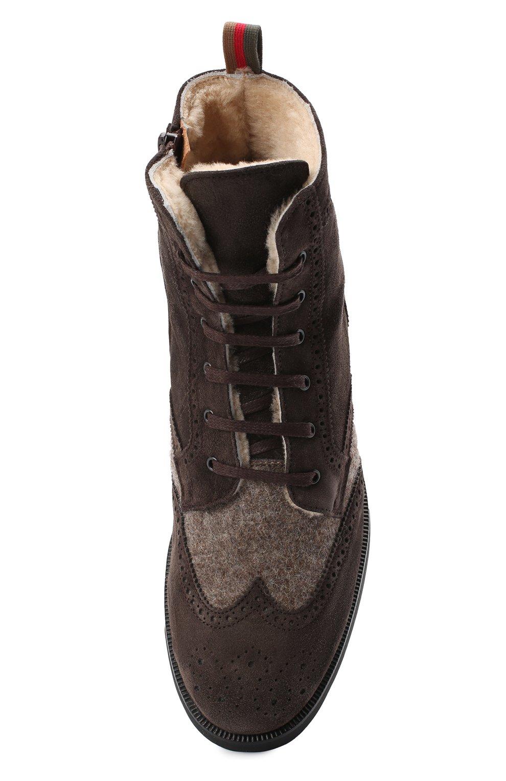 Детские замшевые ботинки с брогированием RONDINELLA коричневого цвета, арт. 11568E/444/37-39   Фото 4