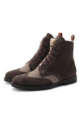 Детские замшевые ботинки с брогированием RONDINELLA коричневого цвета, арт. 11568E/444/40-42 | Фото 1