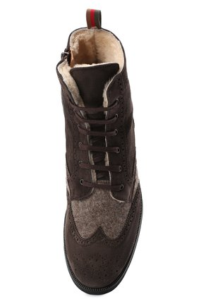 Детские замшевые ботинки с брогированием RONDINELLA коричневого цвета, арт. 11568E/444/40-42 | Фото 4