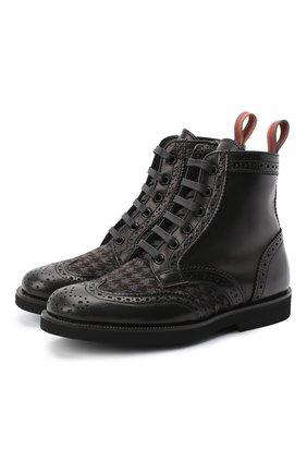 Детские кожаные ботинки с брогированием RONDINELLA черного цвета, арт. 11568F/662/28-30 | Фото 1