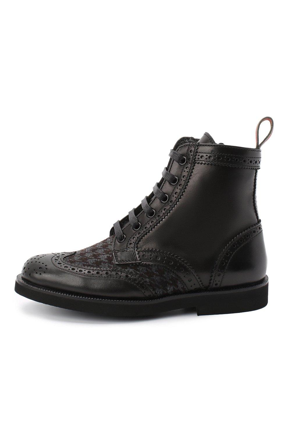 Детские кожаные ботинки с брогированием RONDINELLA черного цвета, арт. 11568F/662/28-30 | Фото 2