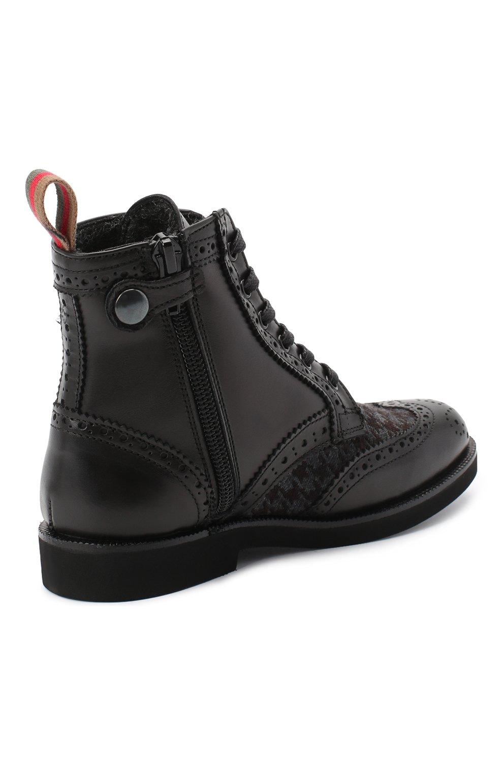 Детские кожаные ботинки с брогированием RONDINELLA черного цвета, арт. 11568F/662/28-30 | Фото 3