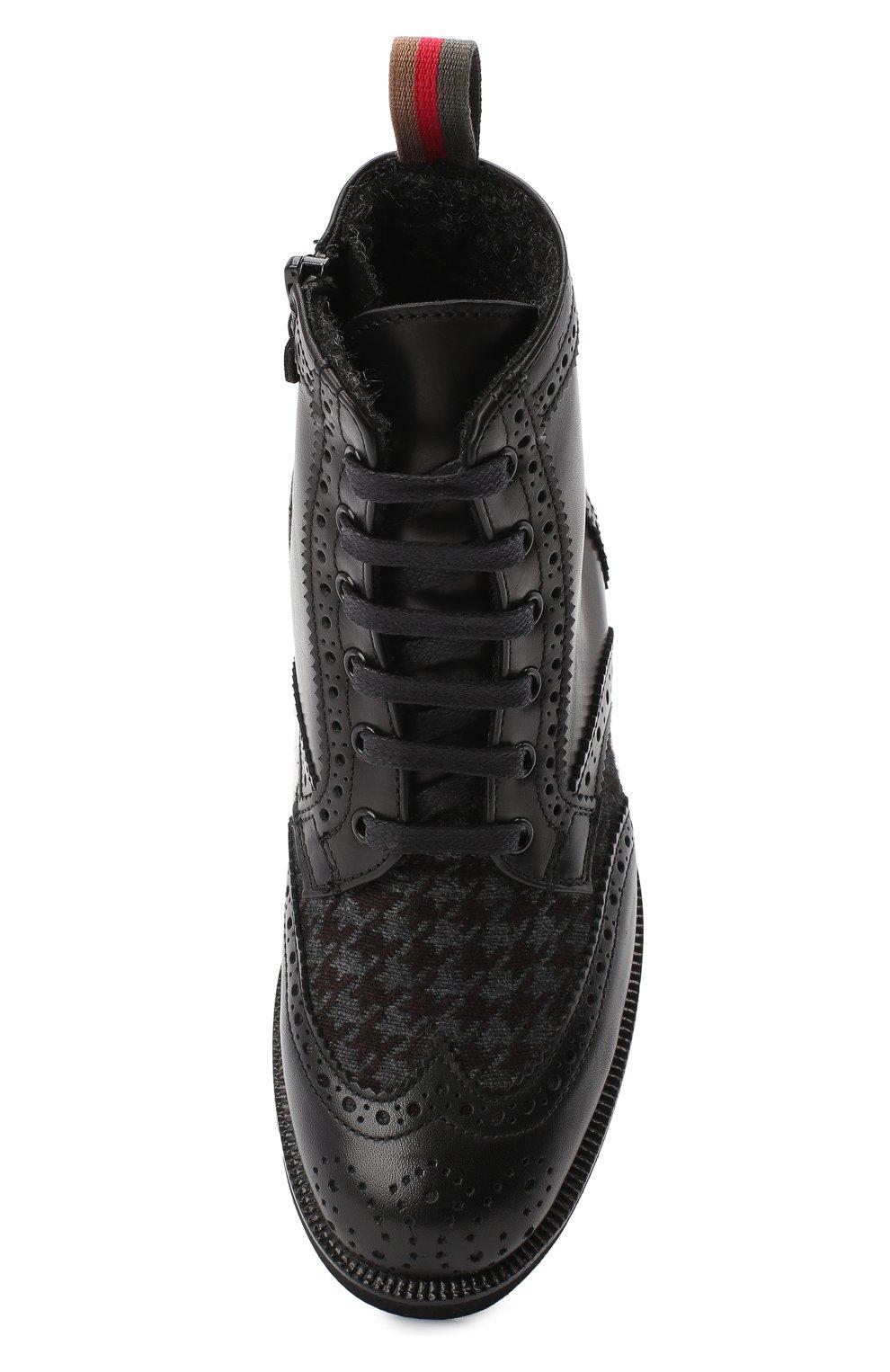 Детские кожаные ботинки с брогированием RONDINELLA черного цвета, арт. 11568F/662/28-30 | Фото 4