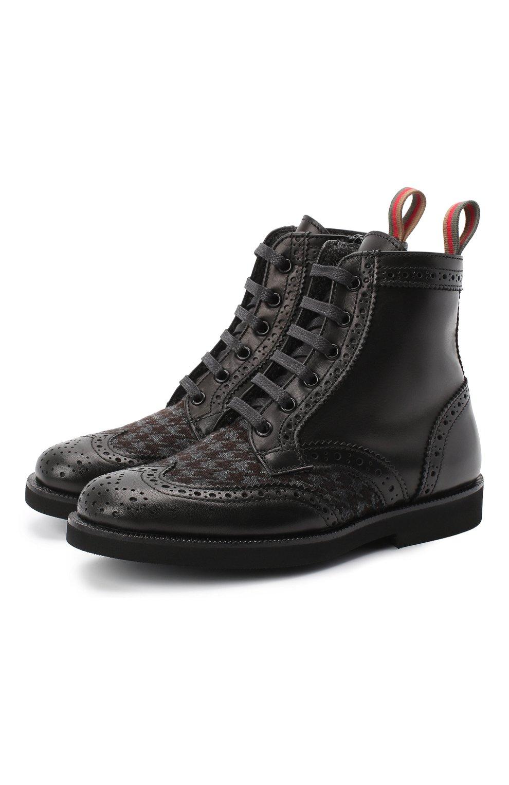 Детские кожаные ботинки с брогированием RONDINELLA черного цвета, арт. 11568F/662/31-33 | Фото 1