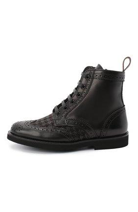 Детские кожаные ботинки с брогированием RONDINELLA черного цвета, арт. 11568F/662/31-33 | Фото 2