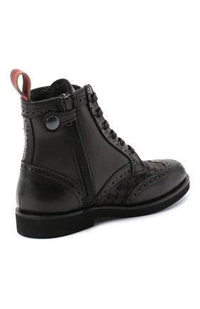 Детские кожаные ботинки с брогированием RONDINELLA черного цвета, арт. 11568F/662/31-33 | Фото 3