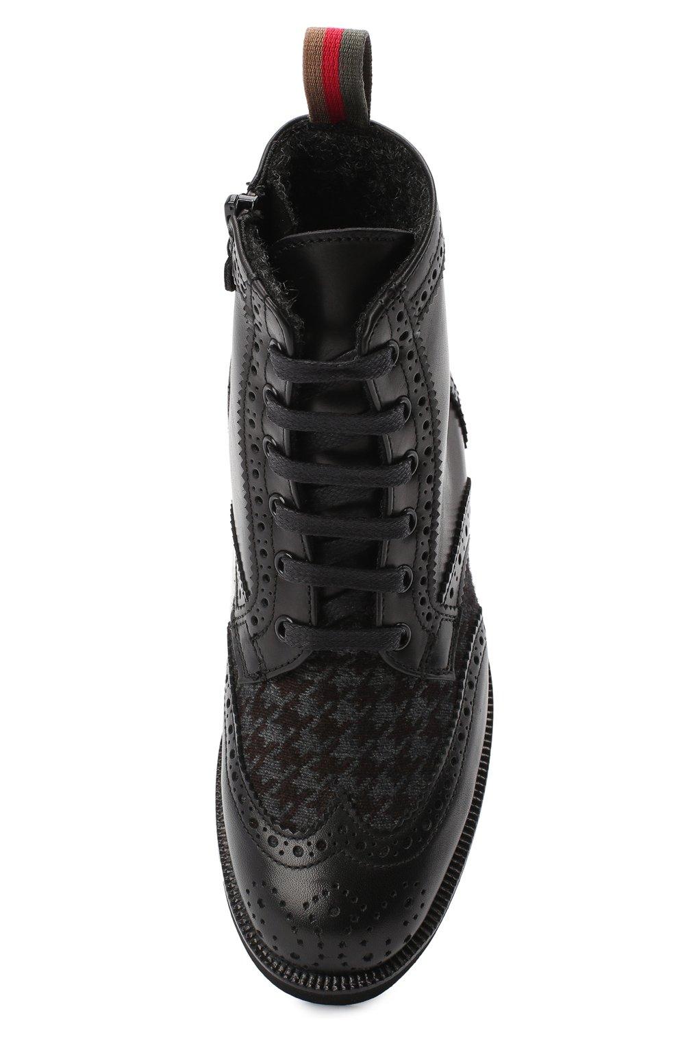 Детские кожаные ботинки с брогированием RONDINELLA черного цвета, арт. 11568F/662/31-33 | Фото 4