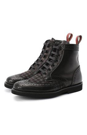 Детские кожаные ботинки с брогированием RONDINELLA черного цвета, арт. 11568F/662/37-39 | Фото 1