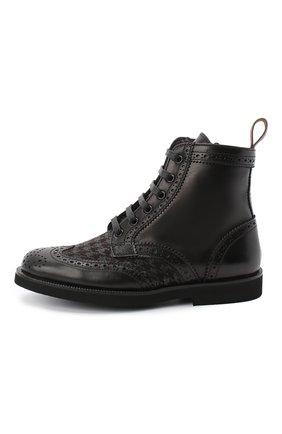 Детские кожаные ботинки с брогированием RONDINELLA черного цвета, арт. 11568F/662/37-39 | Фото 2