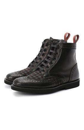 Детские кожаные ботинки с брогированием RONDINELLA черного цвета, арт. 11568F/662/40-42 | Фото 1