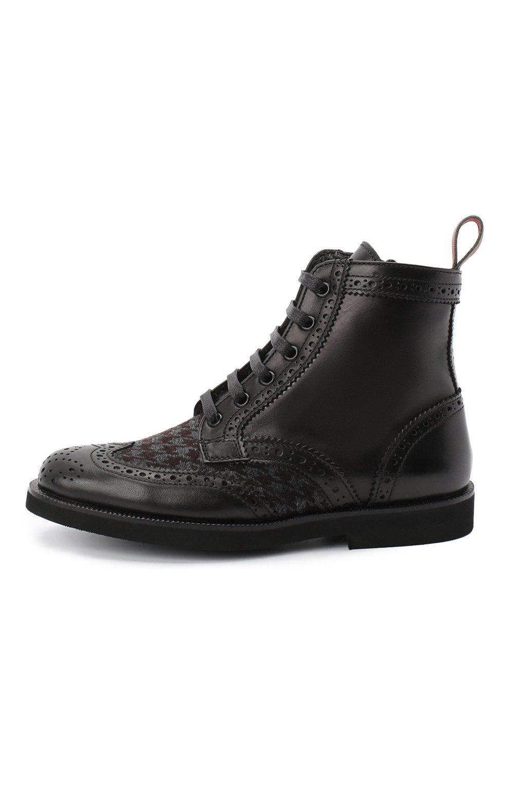 Детские кожаные ботинки с брогированием RONDINELLA черного цвета, арт. 11568F/662/40-42 | Фото 2