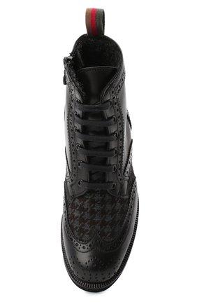 Детские кожаные ботинки с брогированием RONDINELLA черного цвета, арт. 11568F/662/40-42 | Фото 4