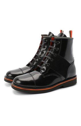 Детские кожаные ботинки RONDINELLA черного цвета, арт. 11604F/5974/31-33 | Фото 1