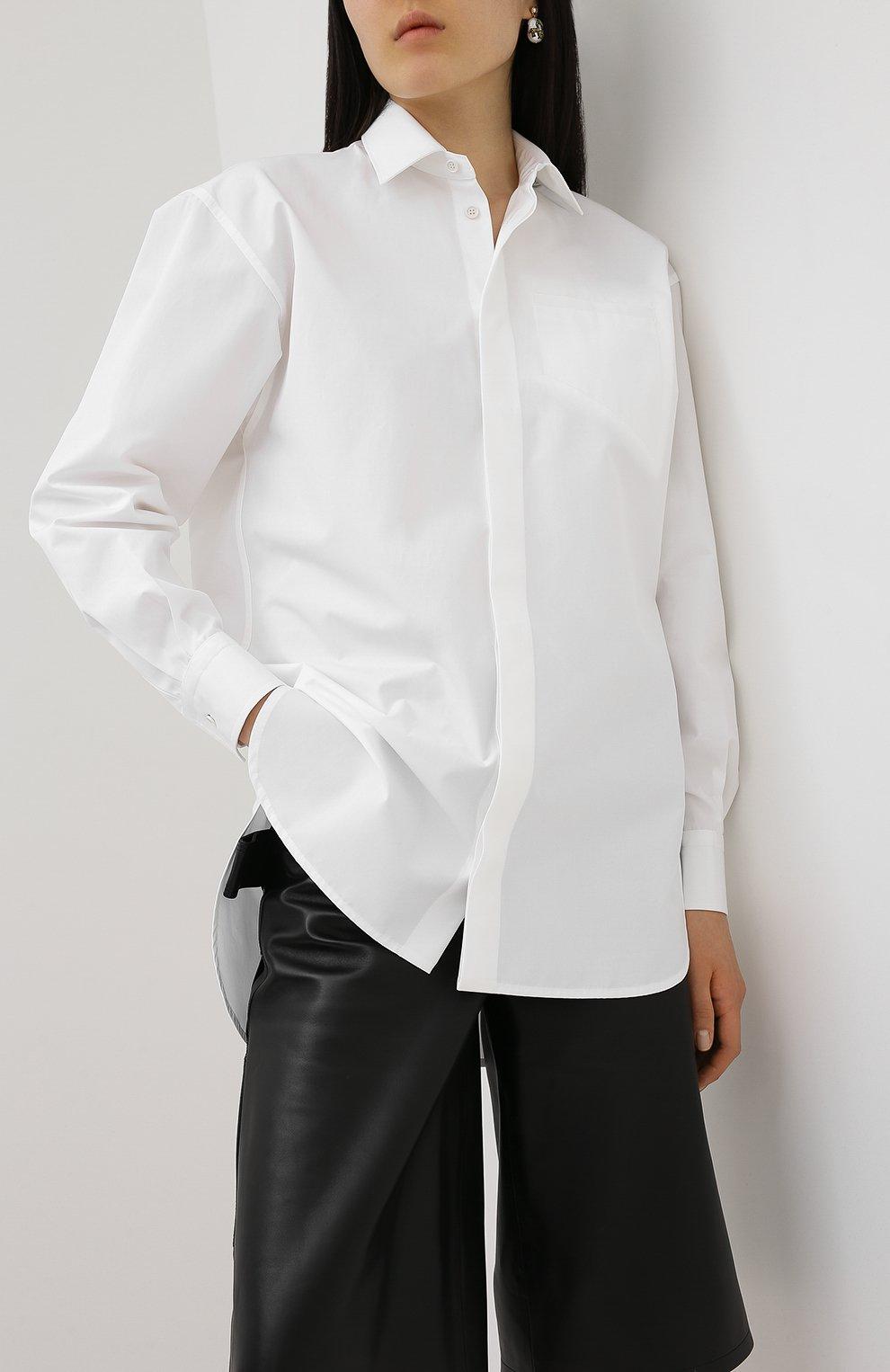Женская хлопковая рубашка BOTTEGA VENETA белого цвета, арт. 629735/VKEC0 | Фото 3