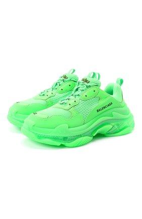 Женские комбинированные кроссовки triple s BALENCIAGA зеленого цвета, арт. 544351/W2CF1 | Фото 1