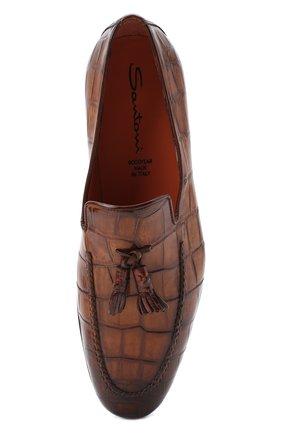 Мужские лоферы из кожи аллигатора SANTONI PRECIOUS коричневого цвета, арт. MPNC15608SA2ECW0M42/AMIS   Фото 5