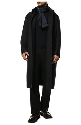 Мужской шелковый шарф LORO PIANA темно-синего цвета, арт. FAL1461 | Фото 2