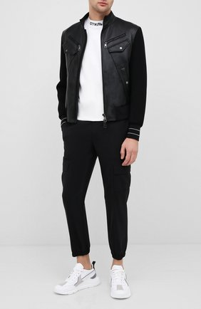 Мужской брюки-карго NEIL BARRETT черного цвета, арт. PBPA793/P026 | Фото 2