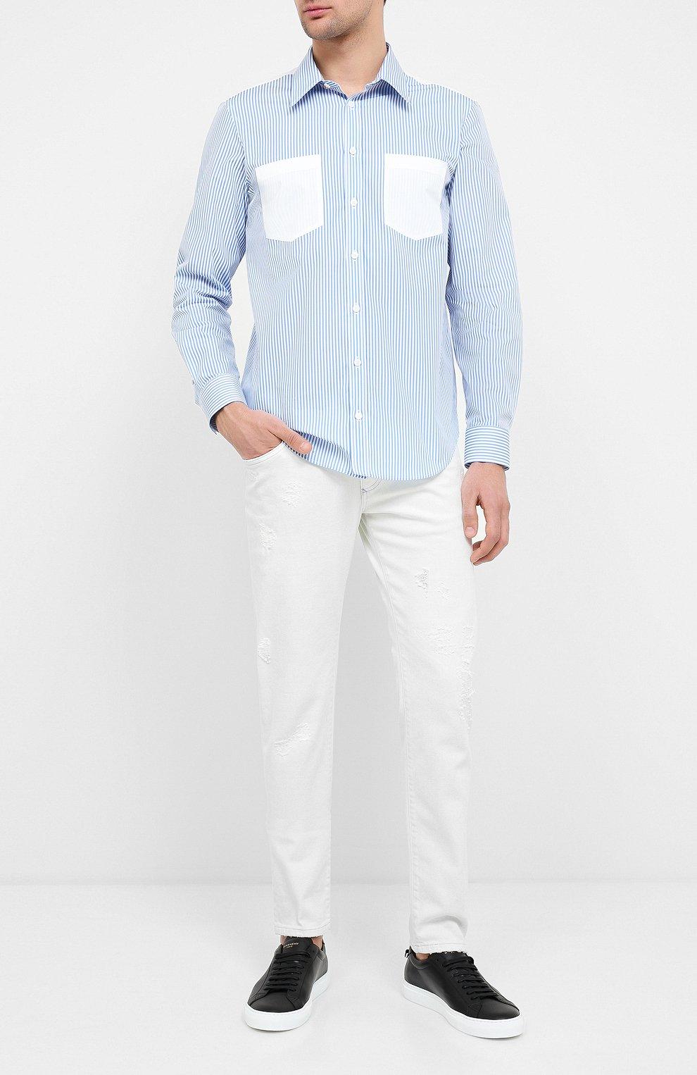 Мужская хлопковая рубашка HELMUT LANG белого цвета, арт. K04HM508 | Фото 2