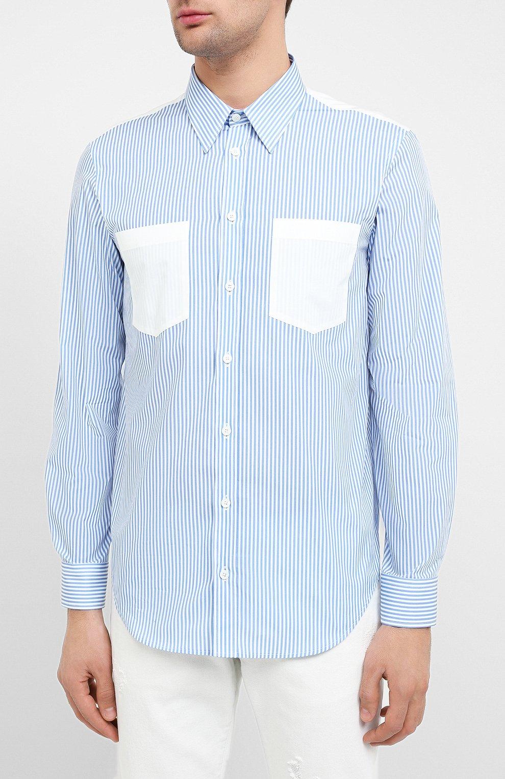 Мужская хлопковая рубашка HELMUT LANG белого цвета, арт. K04HM508 | Фото 3