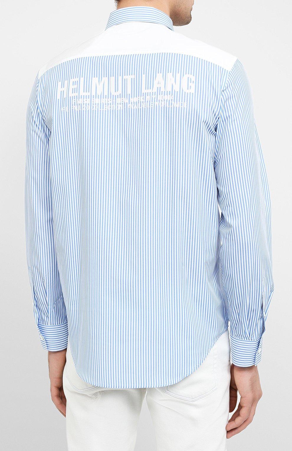 Мужская хлопковая рубашка HELMUT LANG белого цвета, арт. K04HM508 | Фото 4