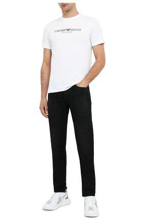Мужская хлопковая футболка EMPORIO ARMANI белого цвета, арт. 8N1T61/1J00Z   Фото 2