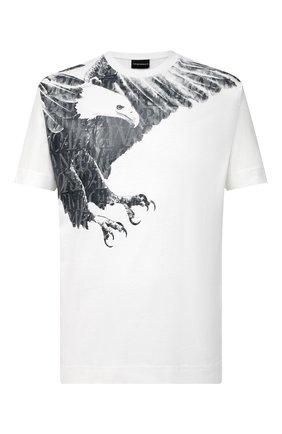 Мужская хлопковая футболка EMPORIO ARMANI белого цвета, арт. 6H1TS8/1JRKZ | Фото 1